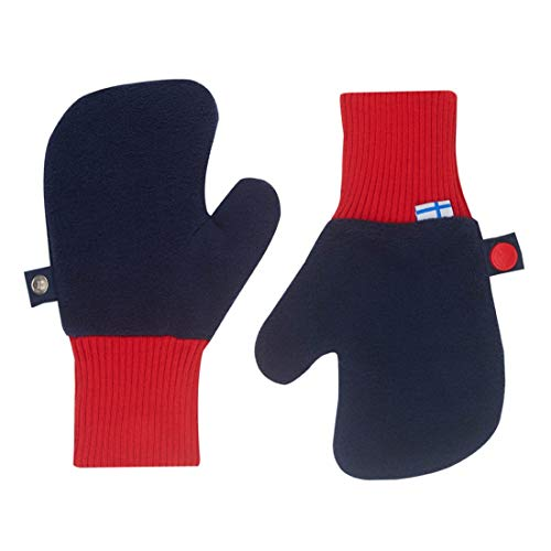 Finkid Nupujussi navy red Kinder Winter Fleece Fäustlinge