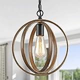 Optimant Lighting Farmhouse Pendant Lighting,Faux-Wood Globe Hanging Light Fixture for Kitchen Island,Bedroom,Living Room and Foyer