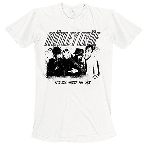 Motley Crue Stencil T-Shirt, Bianco (Bianco-Bianco), XL Uomo