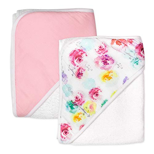 HonestBaby 2-Pack Organic Cotton Hooded Towels, Rose Blossom, One Size