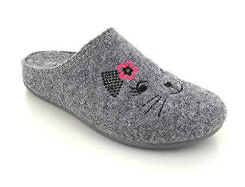 Thies Fieltro Pantoffel Katze, gris, 39