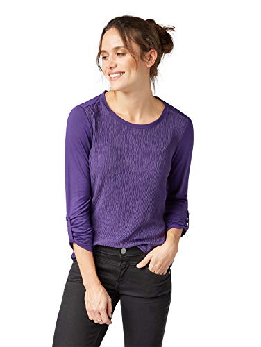 TOM TAILOR für Frauen T-Shirts/Tops Langarmshirt im Crinkle-Design Cowardly Purple, L