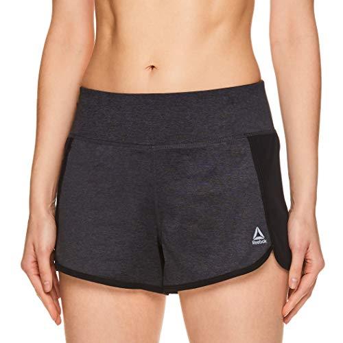 Reebok Women's Athletic Workout Shorts - Gym Training & Running Short - 3 Inch Inseam - Mara Black Heather, Large