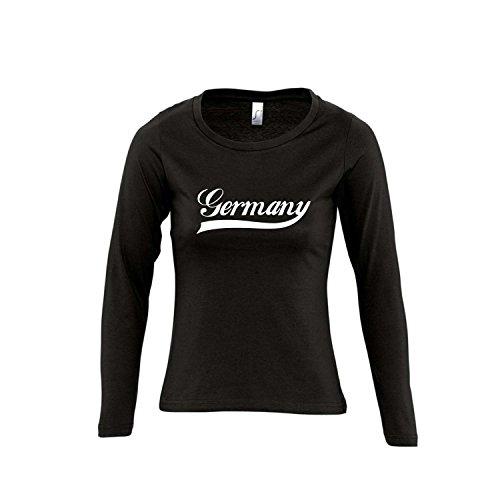 Deutschland Oldschool Germany LÄNDERSHIRT EM / WM FAN Trikot - Damen Langarm Longsleeve T-Shirt S-XL , Deep black - weiß , L