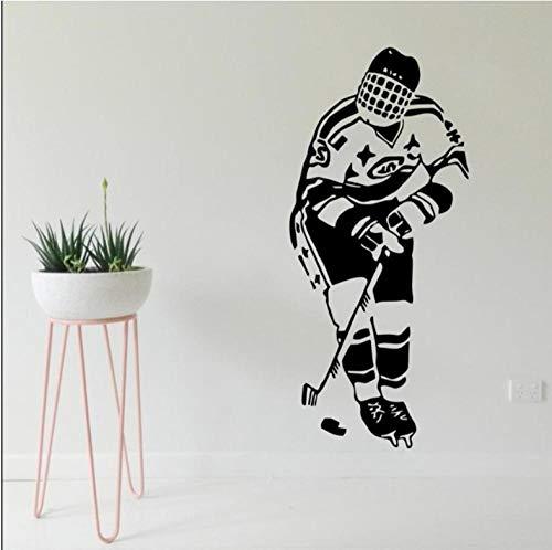 Muurstickers 42 x 59 cm hockey sport speler spel team jongen kinderen kinderen zwarte applicatie kan Pvc behang Bewegen woning decoratie Moderne waterdichte zelfklevende kunst creatieve DIY