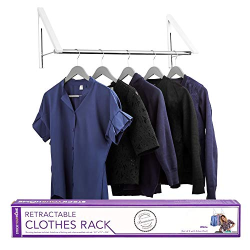 Stock Your Home Retractable Clothes Rack - Wall Mounted Folding Clothes Hanger Drying Rack for...