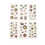 CAOLATOR 6 Blatt Essen Sticker Kinder Mädchen Aufkleber aus Papier für Scrapbooking Stickerbuch Tagebuch Fotoalbum Notizbuch Kalender Dekoration