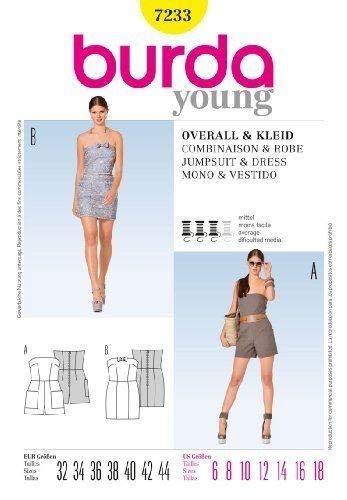 Burda Ladies Young Fashion Sewing Pattern 7233 -Short Jumpsuit & Dress Sizes: 6-18 E 32-44