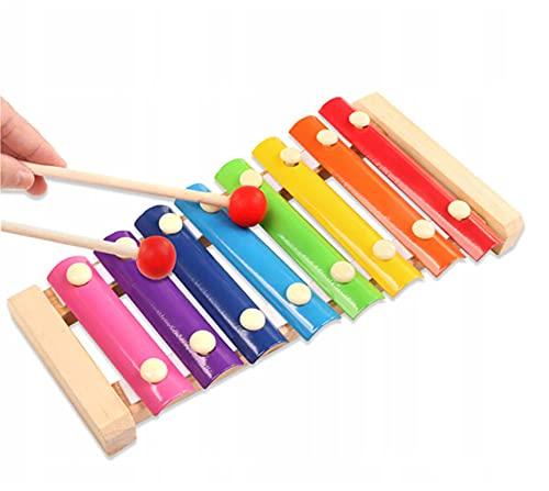 Retoo Glockenspiel für Kinder mit 2 Schlägel Und 8 regenbogenfarbene Metallschlüssel, Holz Musikinstrument für Kinder ab 3 Jahren, Klopfinstrument für Kleinkind und Kleine Musiker, Holzspielzeug