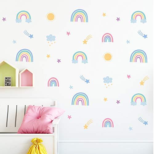 Ava & Archer Rainbow Wall Decals - Modern Boho Rainbow Decor Stickers Set for Nursery & Girls Room Decorations - Gift for Girls Room Decor