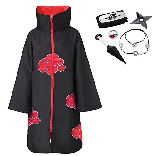 D.F.L Akatsuki Cloak Unisex Ninja Itachi Long Robe Capes Halloween Cosplay Costume Uniform Headband Plastic Prop, X-Large