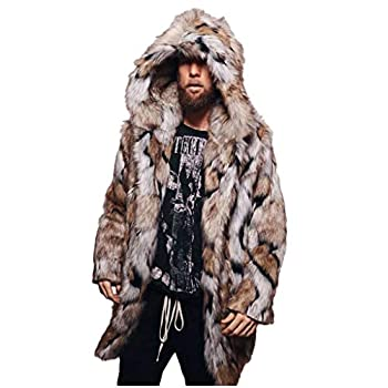 OMINA Mens Printed Faux Fur Jackets with Hood Womens Casual Winter Warm Slim Fit Cardigan 4XL Overcoat Mid Length