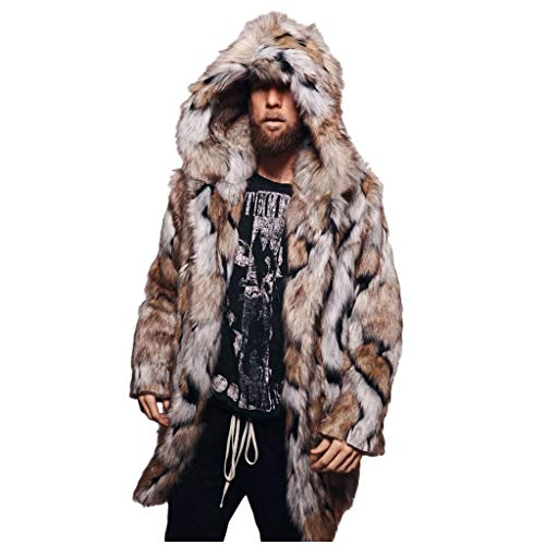 OMINA Mens Printed Faux Fur Jackets with Hood, Womens Casual Winter Warm Slim Fit Cardigan 4XL Overcoat Mid Length