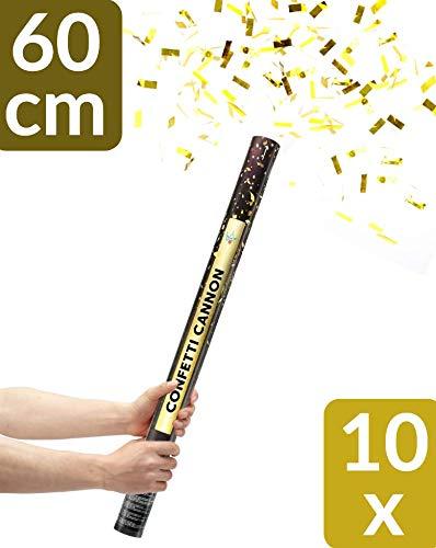10 XXL Konfetti Shooter Gold 60cm | Goldregen mit Extra lautem Knall | Konfettikanone mit Hoher Schussweite