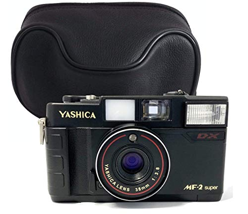 Yashica MF35 super 35mm analoge Kleinbild Kamera im Set mit Batterie und Film und Ledertasche