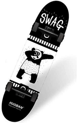 CJK Shortboard Sports Partner Skateboard Anfänger Jugend Bilaterale Sloping Brett Jungen und Mädchen Gehen Vierrädrige Scooter Erwachsene (Farbe, Stardust),Panda