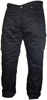 Bikers Gear Australia Men's Motorcycle Protective Kevlar Cargo Style Jeans Black