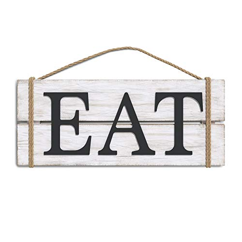 Barnyard Designs Eat Wood Wall Art Sign, Rustic Primitive Farmhouse Country Kitchen and Home Wall Decor, White/Black, 17
