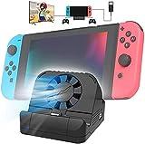 Gamedealer - Estación de carga multifunción para Nintendo Switch con ventilador y función de interruptor N, 3 puertos USB, conector HDMI, color negro