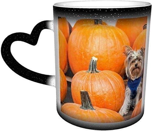 Tazza in ceramica Yorkshire Terrier Cane Zucca Seduta Tazza sensibile al calore che cambia colore Tazza nel cielo Tazze da caffè Tazza in ceramica