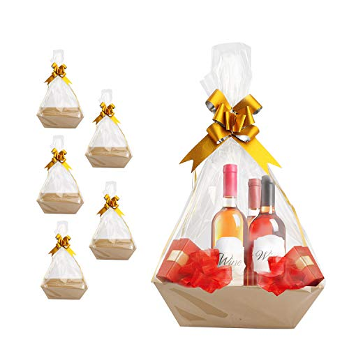 Baskets For Gifts Empty, Gift Basket Kit With Basket Empty Includes 5 Empty Gift Baskets, 5 Bags and 5 Bows