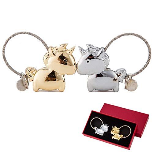 Funnyshow Couple Porte-clés, 1 Paire Cadeau Porte Clé Couple Licorne, Magnétique Détachable Keychain, pour Saint-Valentin Cadeau Anniversaire (Argent et Or)