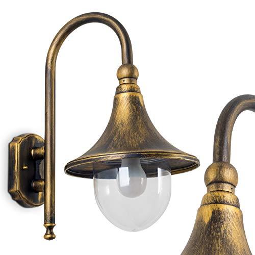 Buitenwandlamp Elgin, wandlamp beneden in antieke look, gegoten aluminium in bruin/goud met kunststof schijven, wandlamp met E27 fitting, max. 60 Watt, retro/vintage buitenlamp voor terras en tuin