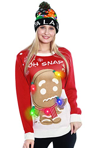 GreaSmart Women's 2 in 1 Light Up Christmas Ugly Sweater Gingerbread Man Funny Beanie Knit Hat Holiday Costume