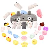 Moj Moj Squishies Easter Egg Fillers Squishy Toys for Kids Preteens Adults 24pcs Mochi Squishies Mini Kawaii Squishies, Party Favors Toy Gifts for Kids, Squishies Cat with Cartoon Bag