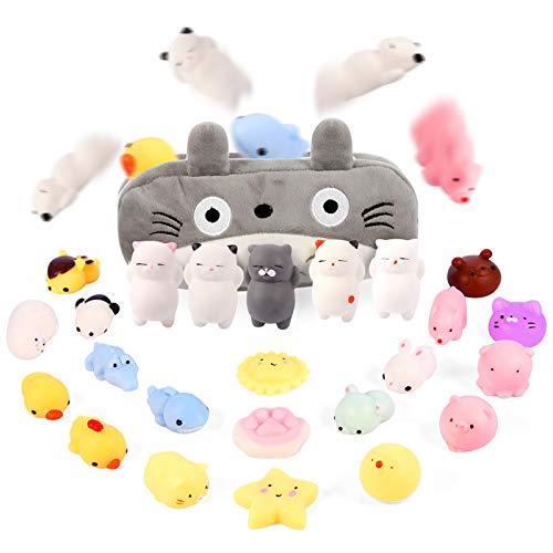 Moj Moj Squishies Squishy Toys for 3 4 5 6 7 Year Old Girls Preteens 24pcs Mochi Squishies Mini Kawaii Squishies, Party Favors Toy Gifts for Kids, Squishies Cat with Cartoon Bag