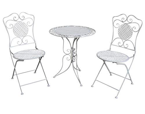 aubaho Gartenset Tisch und 2 Stühle Eisen Antik-Stil Gartengarnitur Bistroset weiß Metall