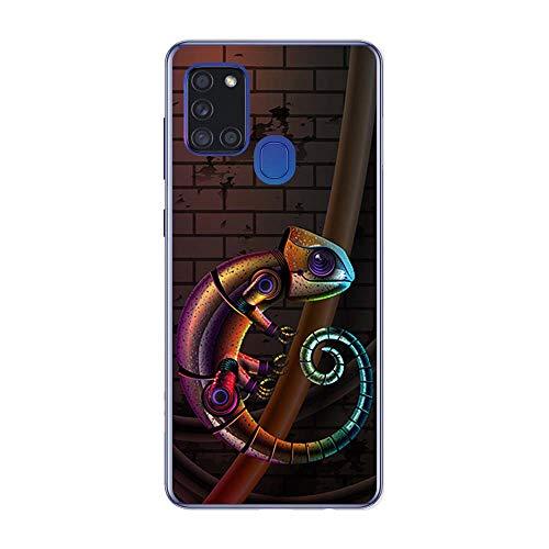 BJJ SHOP Transparent Hülle für [ Samsung Galaxy A21s ], Klar Flexible Silikonhülle, Design: Biomechanisches Chamäleon