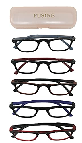 Fusine Pack of 2 – Full Frame Sturdy Shell Type Reading Eye Glasses For Men & Women, Random Color (+1.00, +1.25, +1.50, +1.75, +2.00, +2.25, +2.50, +2.75, +3.00)