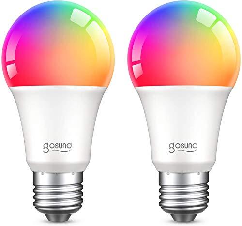 Gosund Bombilla Led Inteligente E27 8W 800LM Lámpara Regulable, Bombillas WIFI Luces Cálidas & RGB Compatible con Alexa y Google Home, Bombillas Alexa con Control Remoto, 16 Millones de Colores, 2 Pcs