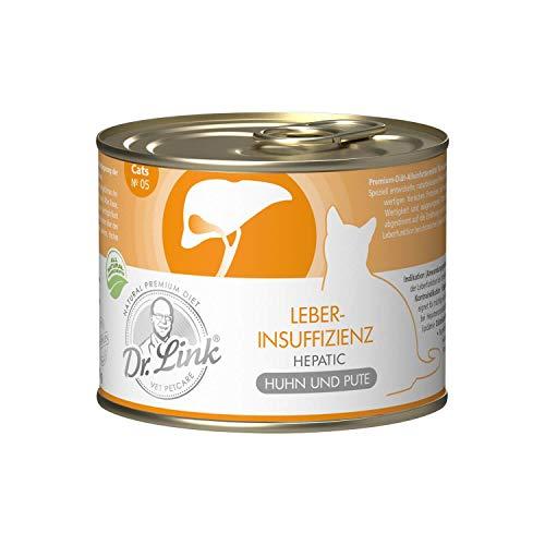 Dr. Link Spezial-Diät Leberinsuffizienz I Hepatic Huhn und Pute |6 x 200 g | Nassfutter für Katzen