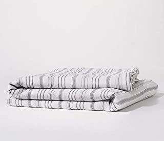 Bokser Home Linen Duvet Covers — Super Soft 100% French Linen | Cool & Breathable | Luxurious & Cozy for Winter | Corner Ties Prevent Shifting | Certified Chemical-Free (King/Cal King, Stripe)