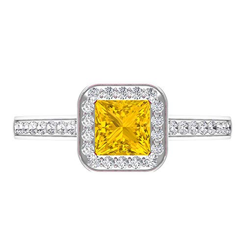Rosec Jewels 14 quilates oro blanco talla princesa round-brilliant-shape H-I Yellow Diamond zafiro sintético amarillo