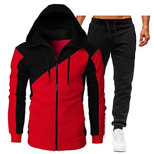 ORANDESIGNE Conjunto de Ropa y Pantalones Costura Cremallera Chándal Traje Deportivo para Hombre, Pantalones Abrigo Chaqueta Jersey para Otoño Invierno Inicio, Trabajo A Rojo XS