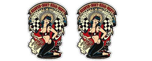Hot Rod Rat Vintage Hellcat Sexy Pin-Up Girl Retro Aufkleber Sticker + Gratis Schlüsselringanhänger aus Kokosnuss-Schale + Oldschool Rockabilly 1% MC Outlaw Chopper Bumper Bike Helm Bobber Rockabella