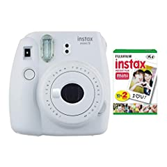 BUNDLE INCLUDES: Fujifilm instax Mini 9 Instant Camera (Smokey White) and one Mini Film Twin Pack (20 Sheets) COMPACT AND LIGHTWEIGHT DESIGN: Snaps and prints pictures that fit in your wallet. Compact and lightweight design MACRO LENS AND SELFIE MIRR...