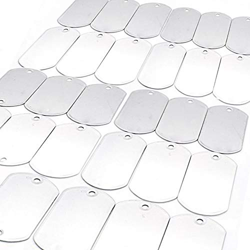 BELMAKS Military Dog Tags Shiny Polished - Stainless Steel spec Rolled Edge Backing Blank Tags 25 PCS