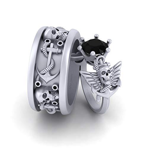 Juego de anillos de compromiso de oro blanco sólido de 10 quilates con diseño de calavera y ancla de ónix negro de 2,30 quilates