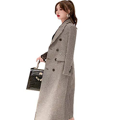 Wuyuana Abrigo largo para mujer, doble botonadura a cuadros, delgada, retro, cortavientos, chaqueta para mujer, abrigos para mujer (color: multicolor, tamaño: mediano)