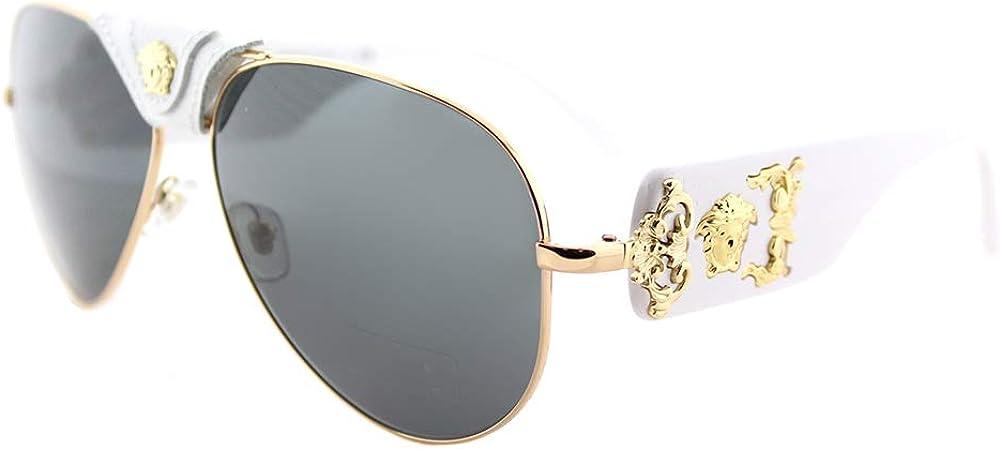 Versace, occhiali da sole per uomo, in metallo e acetato, lenti grigie specchiate nere VE2150Q