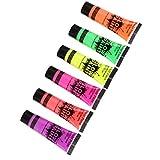 chiwanji Pintura Corporal Y Facial 10ml UV Glow Conjunto, Paquete de 10 Ml de 6 Tubos, Todos 6 Colores