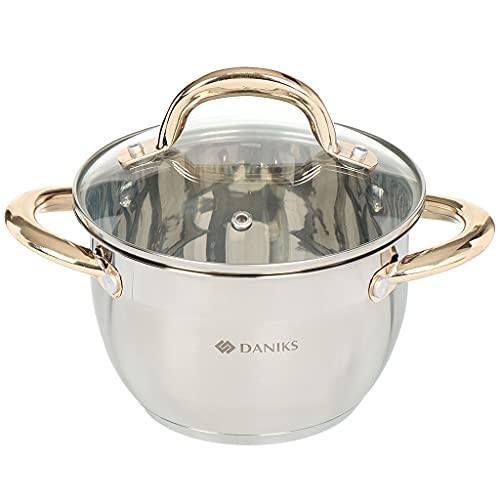 Daniks Vivat Gold - Pentola a induzione in acciaio INOX con coperchio in vetro, 2 l, Ø 16 cm