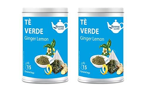 Novarese Zuccheri Tè Verde Ginger Lemon, 2 Barattoli con 15 Filtri Piramidali da 2.25G - 67.5 gr