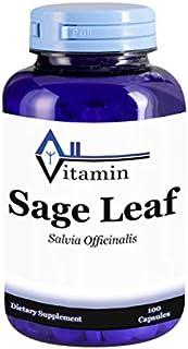 Sage Leaf 900mg 100 Capsules - (Non-GMO, Gluten Free, GMP) Digestive Aid - Made in USA - All Vitamin ...