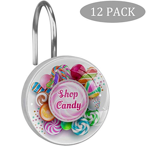 Shiiny Candy Shop dekorative Duschvorhangringe aus Edelstahl, rostfrei, 12 Stück
