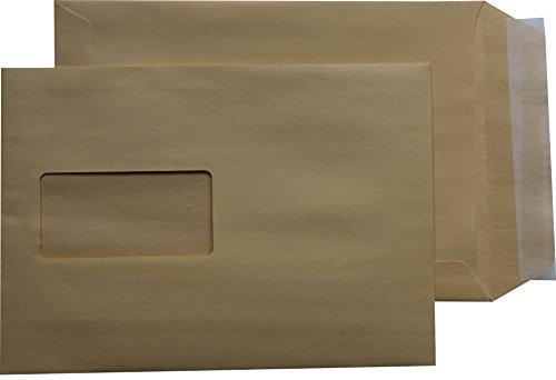 100 St. Versandtaschen Briefumschläge C5 A5 braun haftklebend mit Fenster 162 x 229 mm HK